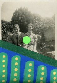 Vintage smiling young couple photo decorated with yellow, blue and green pens, dark green washi tape and neon green stickers.
