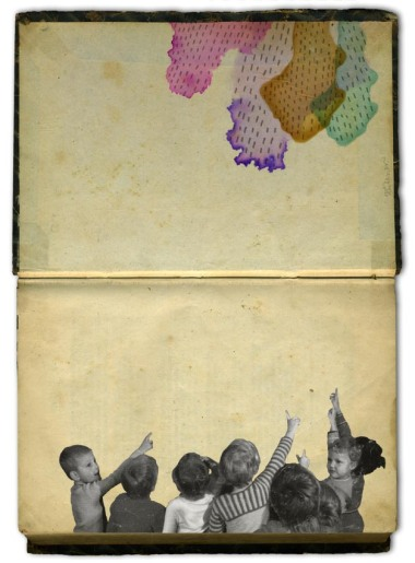 Group of kids pointing over their head towards to an abstract colorful organic illustration.