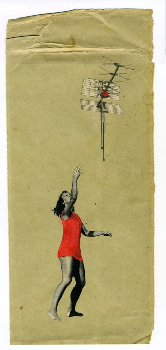 Young woman that is trying to catch an antenna over her head.