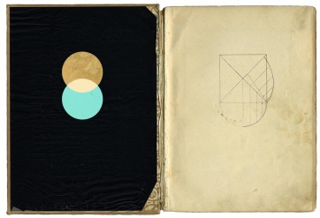 Two vintage page collage of abstract elements of geometric forms.