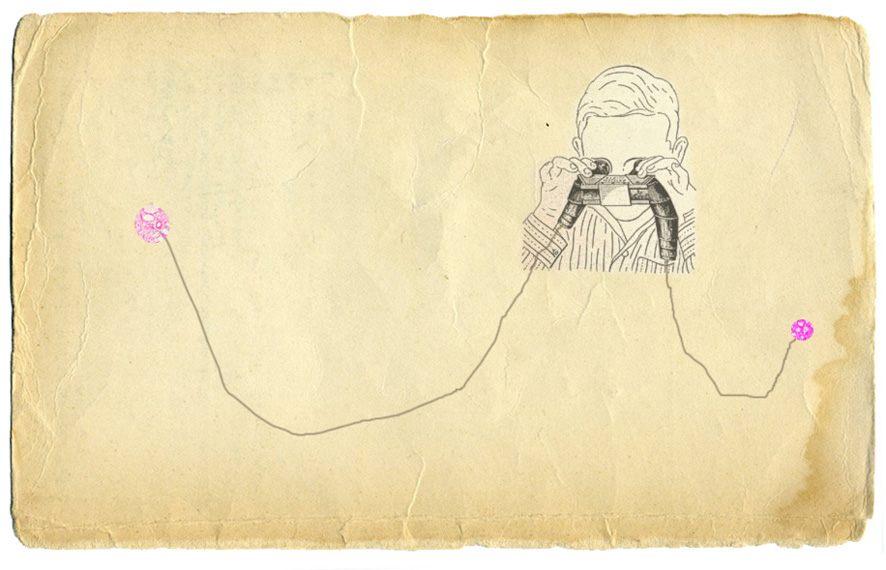 Illustration of a kid watching inside a binoculars putted over a vintage paper.