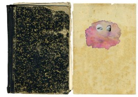 Two vintage page collage with a pair of eyes putted over an abstract organic pink form.
