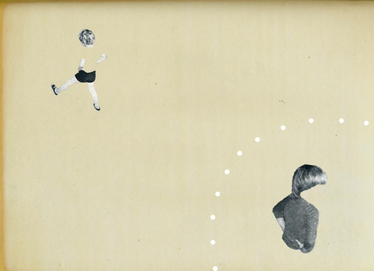 Collage of two defaced kids putted over a vintage paper.
