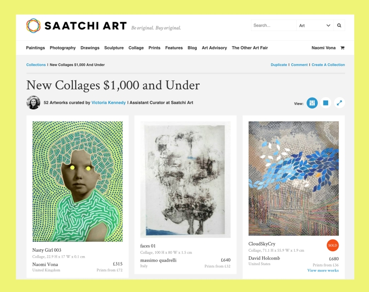 Screenshot photo of Saatchi Art Website.