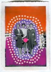 Vintage women group photo altered with pens and stickers.
