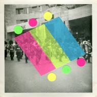 Squared format collage over a vintage photo of a marching band.