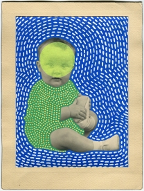 Vintage baby portrait manipulated with neon washi tape and posca pens.