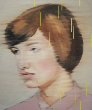 Woman portrait with yellow decorations.