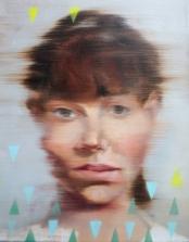 Woman portrait with triangular decorations.