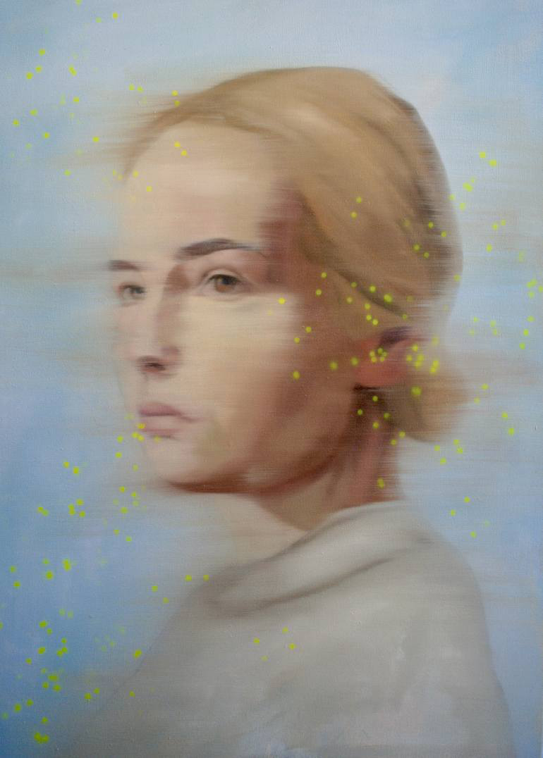 Woman portrait with dotty yellow decorations.