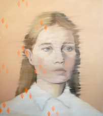 Woman portrait with orange abstract decorations.