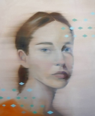 Woman portrait with blue abstract decorations.