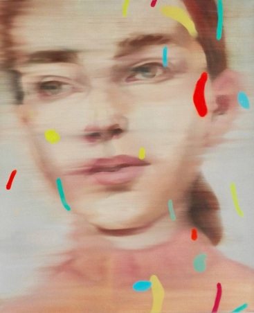 Woman portrait with red, yellow and blue abstract decorations.