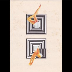 Collage of a half cut woman in swimsuit floating into an abstract geometric composition.