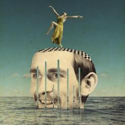 Collage of a half man face coming out from the sea with a tiny woman dancing over his head.