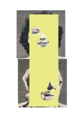 Digital collage of two defaced portraits.