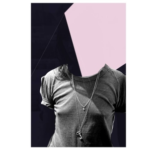 Female defaced portrait collage.
