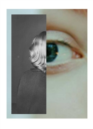 Digital collage of a closeup eye photo and a female portrait cut in half.