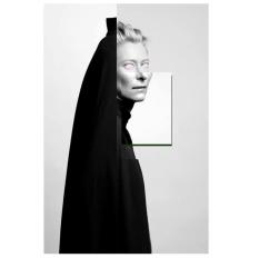 Digital collage of Tilda's portrait.