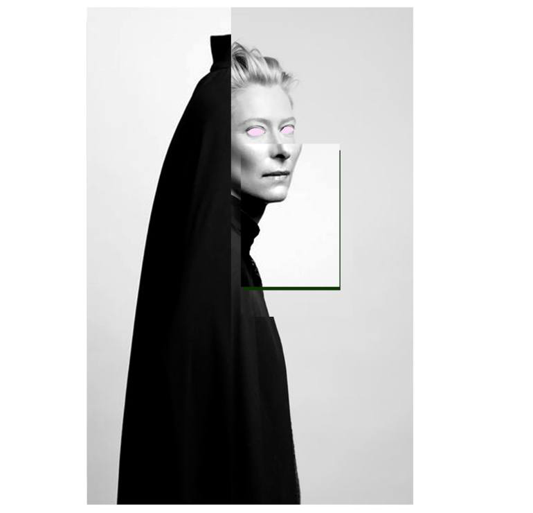 Digital collage of Tilda's portrait.