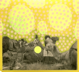 Group of people with camels retro photo decorated with stickers and pens.