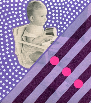 Kid vintage picture decorated with purple, white and pink mixed materials.