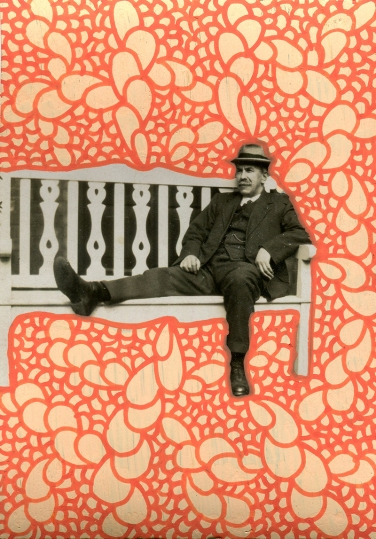 Old man vintage photo relaxing on a bench decorated with pens.