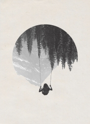 Woman on a swing seen from her back floating into a mountains landscape upside down.