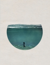Woman seen from behind floating into a circle seascape.