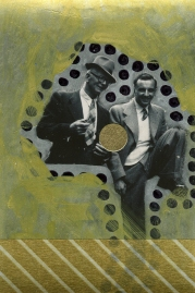Smiling men retro photo manipulated with gold and sliver colours.
