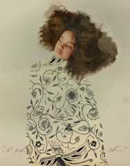Kid portrait with an handmade painted dress.