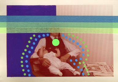 Vintage man with baby portrait decorated using pens, stickers and washi tape.