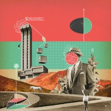 Digital collage with a man, a woman, a horse, plants and building putted over an abstract composition.