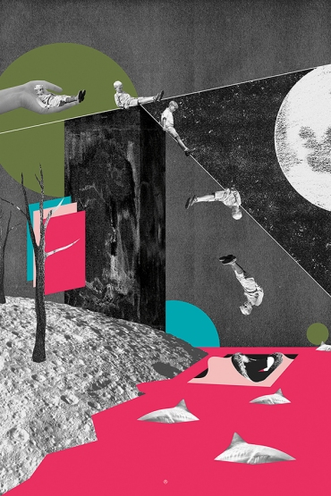 Kids collage putted over an abstract landscape.