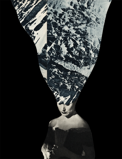 Defaced woman collage portrait with a mountain landscape covering her face.