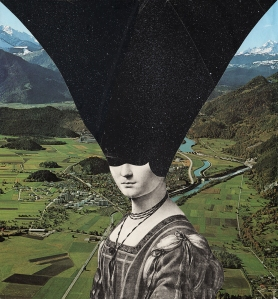 Defaced surreal portrait of a woman with a galaxy covering half of her face.