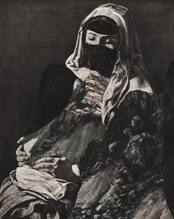 Defaced woman painting.