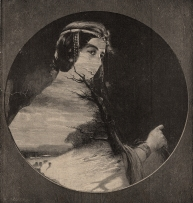 Classic rounded female portrait defaced.