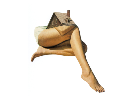 Woman legs with a house roof on the top of them.