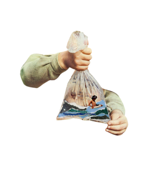 Hands holding a plastic bag containing a tiny boy swimming inside of it.