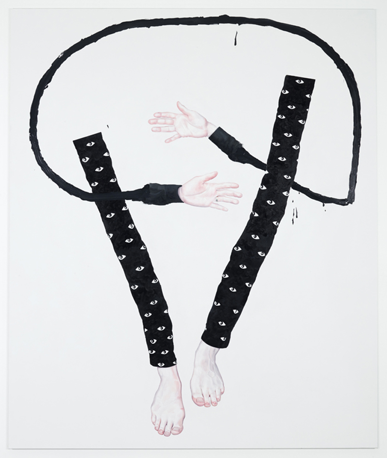 Floating hands and feet over a white background.