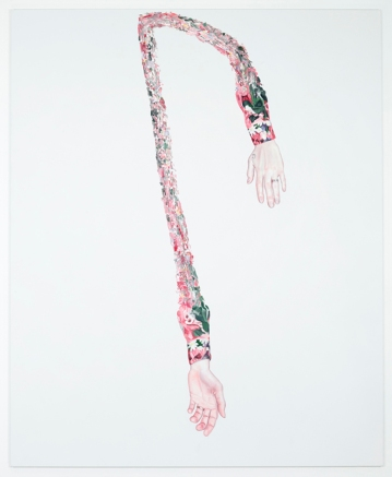 Floating hands over a white background.