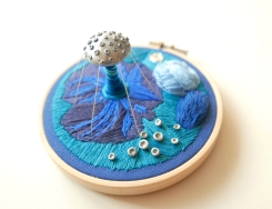 Still life aerial photo of an Emboidery Hoop.