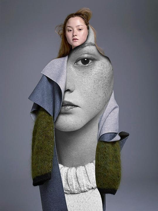 Fashion shots cutouts of a woman.