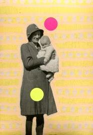 Mother with baby retro photo altered using pens and stickers.