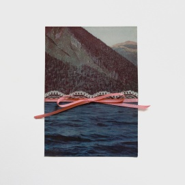 Landscape decorated with a pink textile ribbon.