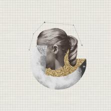 Defaced woman portrait collage.