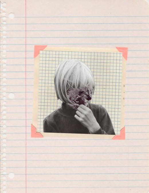 Defaced boy portrait collage.