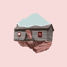 Collage of a house and rock over a pink paper.