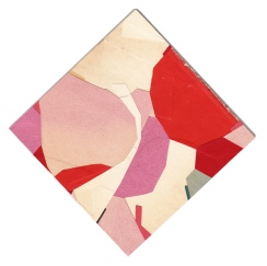 Found paper scraps arranged to create abstract and geometric compositions.